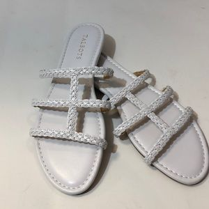 Talbots White sandals with braided straps.
